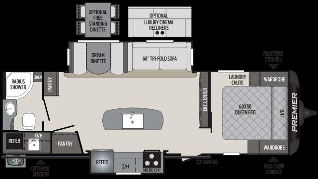2019 Premier 26RBPR Floor Plan