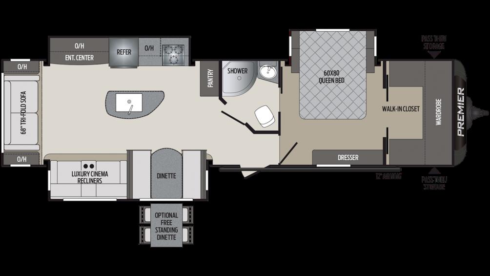 2019 Premier 34RIPR Floor Plan Img