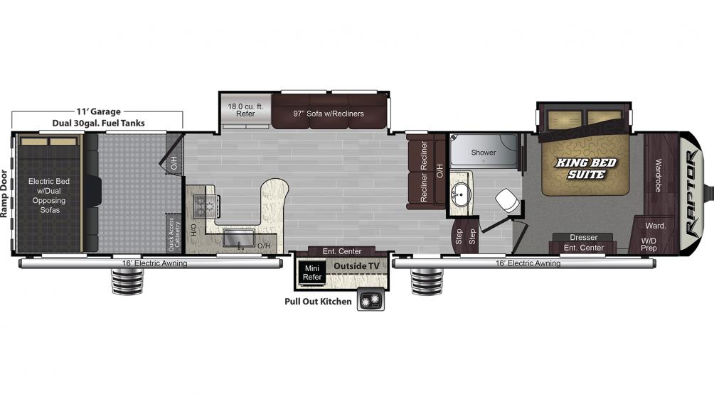2019 Raptor 421CK Floor Plan Img