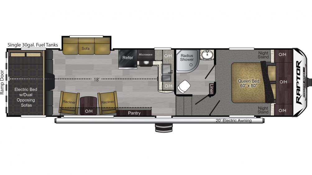 2019 Raptor Predator Series 3018P Floor Plan Img