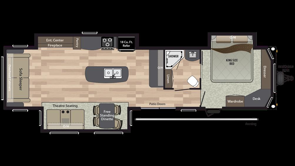 2019 Residence 40RLTS Floor Plan Img
