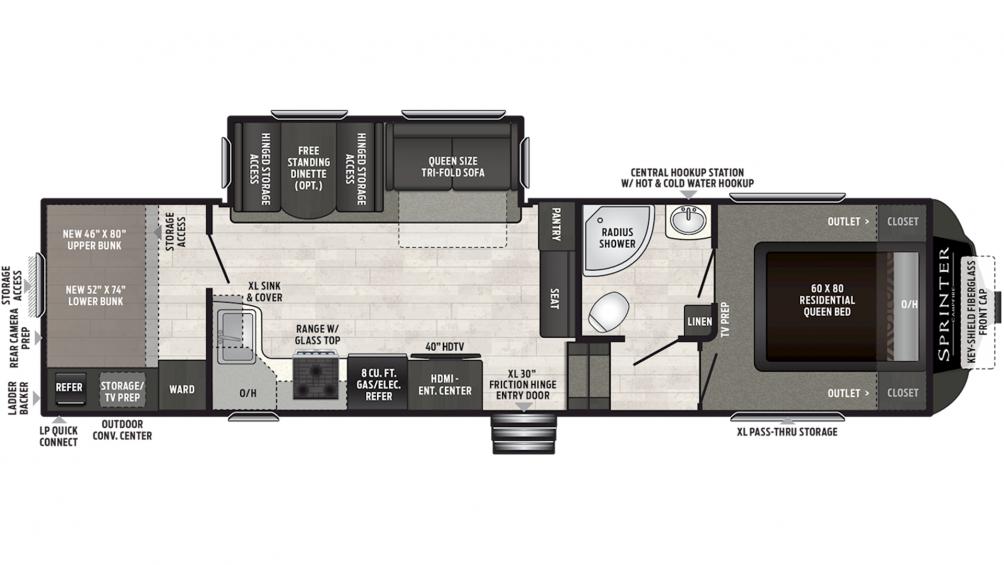 2019 Sprinter Campfire Edition 29FWBH Floor Plan Img