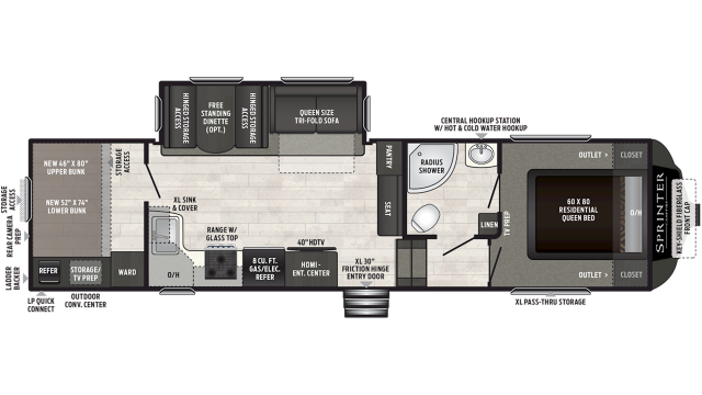 2019 Sprinter Campfire Edition 29FWBH Floor Plan