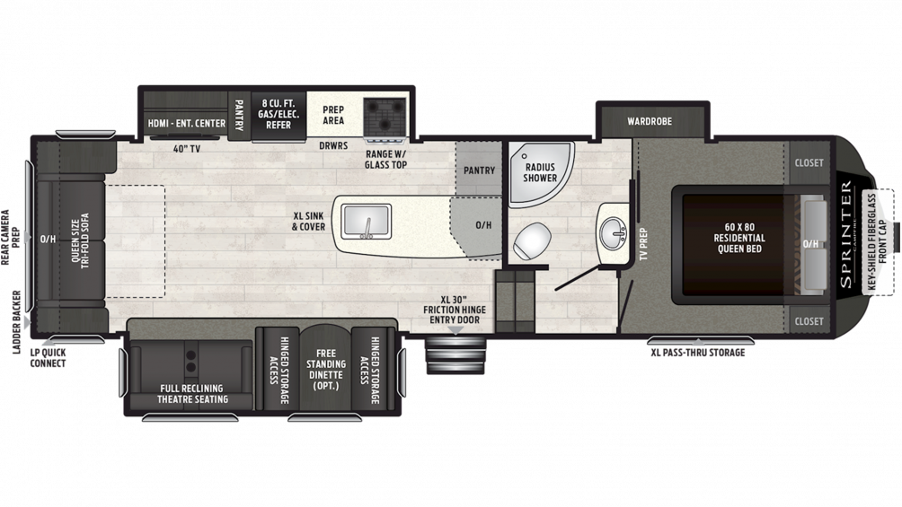 2019 Sprinter Campfire Edition 29FWRL Floor Plan Img