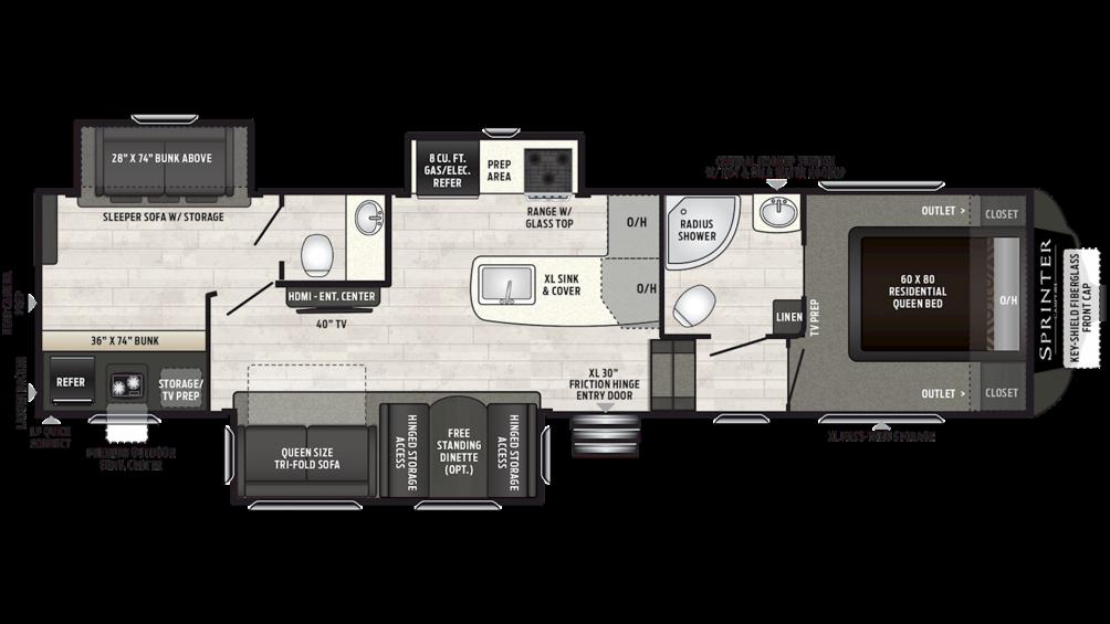 2019 Sprinter Campfire Edition 32FWBH Floor Plan Img