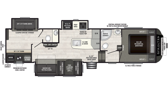 2019 Sprinter Campfire Edition 32FWBH Floor Plan