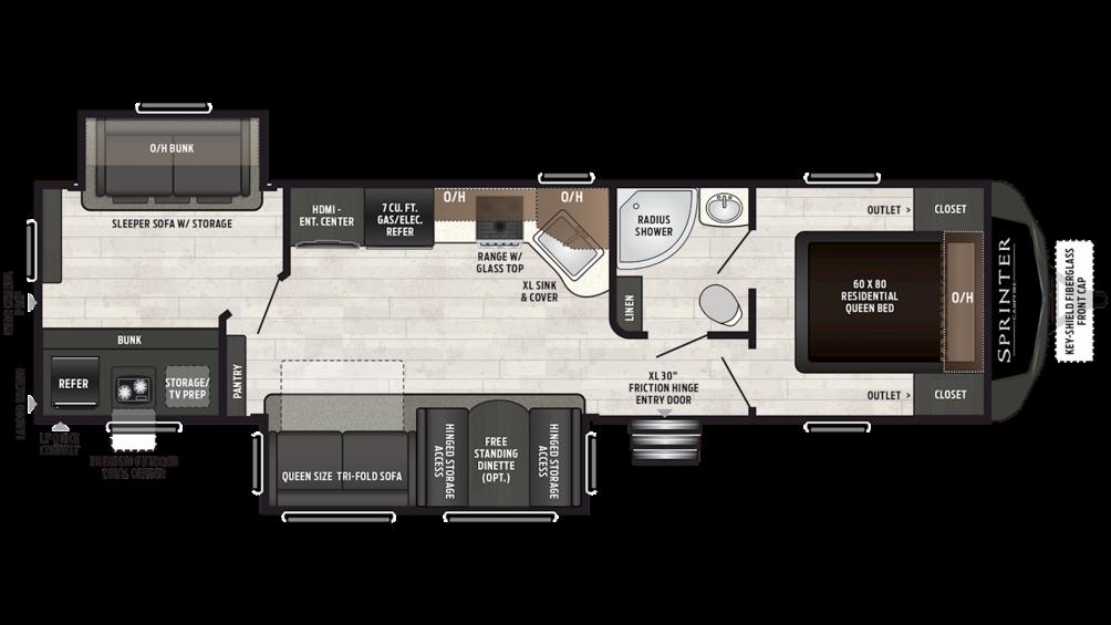 2019 Sprinter Campfire Edition 33BH Floor Plan Img