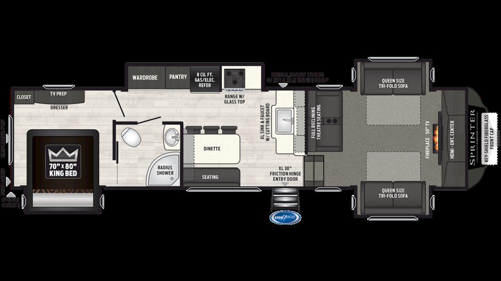 2019 Sprinter Limited 3340FWFLS Floor Plan Img
