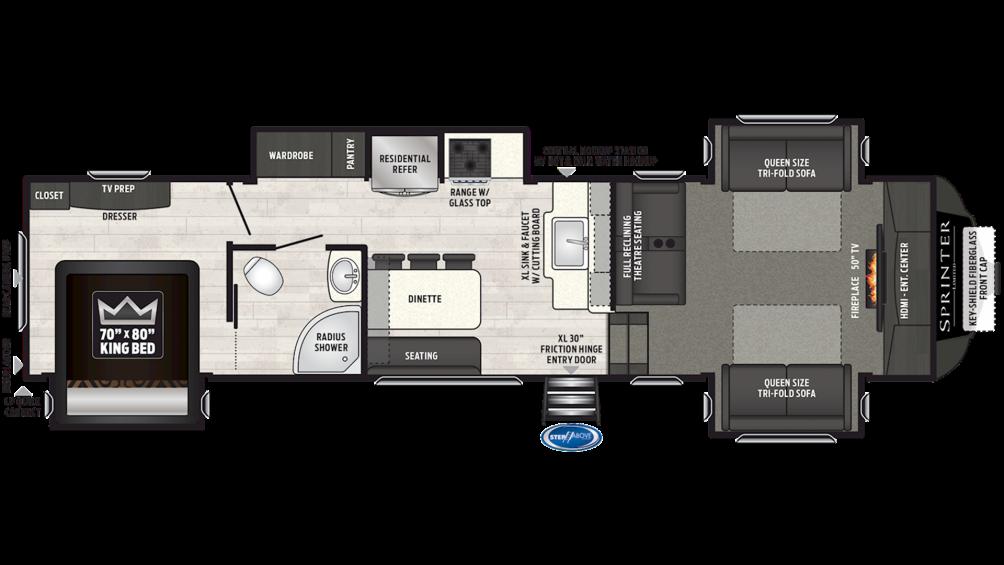2019 Sprinter Limited 3341FWFLS Floor Plan Img