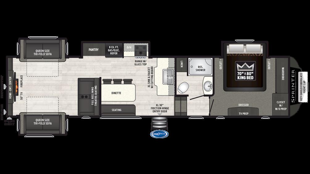 2019 Sprinter Limited 3530FWDEN Floor Plan Img