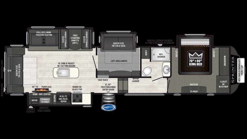 2019 Sprinter Limited 3570FWLFT Floor Plan Img