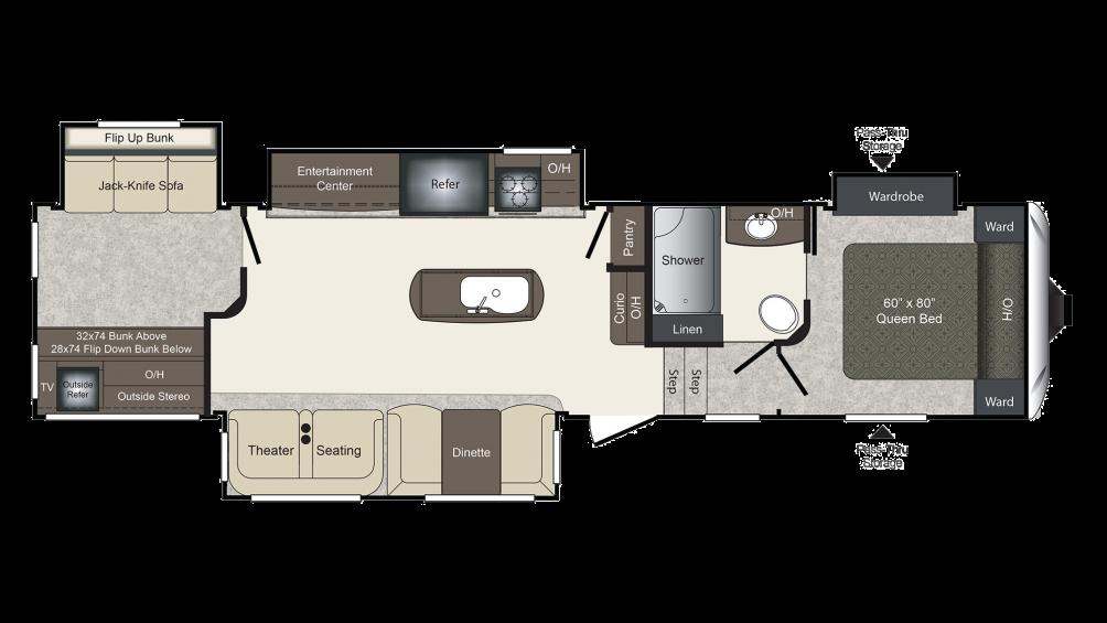 Laredo 357BH Floor Plan - 2017