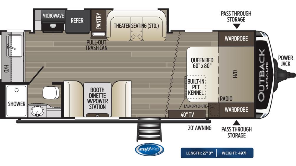 Outback Ultra Lite 221UMD Floor Plan - 2020