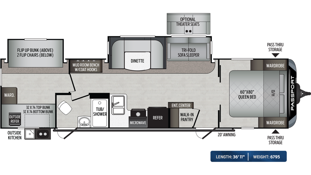 Passport GT Series 3221BH Floor Plan - 2020