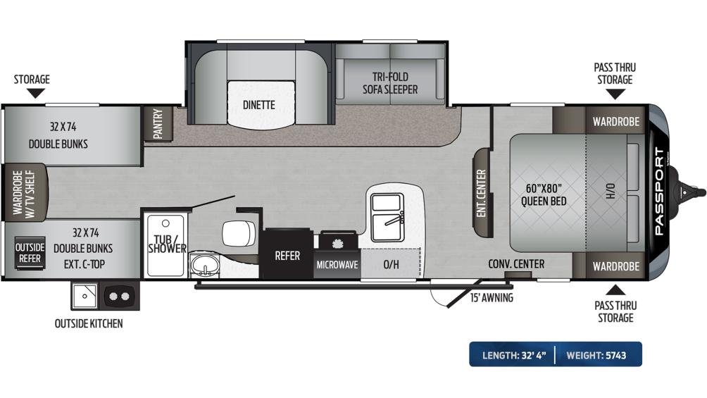Passport SL Series 292BH Floor Plan - 2020