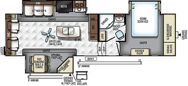2017 Rockwood Signature Ultra Lite 8299BS Floor Plan