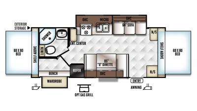 Rockwood Roo 23WS Floor Plan - 2017