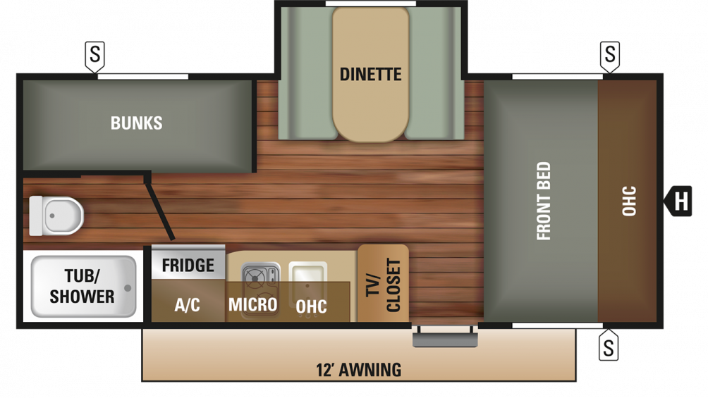 2018 Autumn Ridge Outfitter 18BHS Floor Plan Img