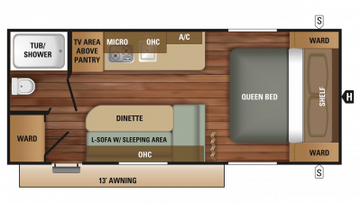 2018 Autumn Ridge Outfitter 18QB Floor Plan Img