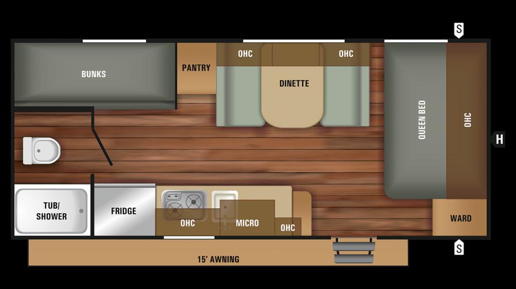 2018 Autumn Ridge Outfitter 20BH Floor Plan Img