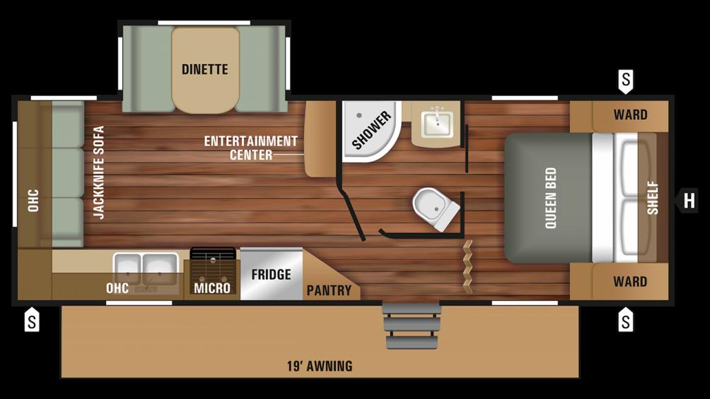 2018 Autumn Ridge Outfitter 23RLS Floor Plan Img
