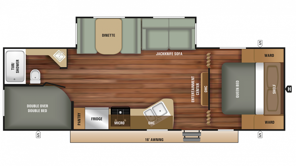 2018 Autumn Ridge Outfitter 26BHS Floor Plan Img