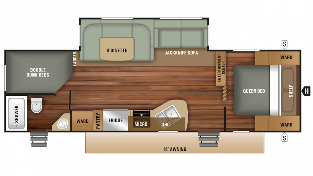 2018 Autumn Ridge Outfitter 27BHS Floor Plan Img