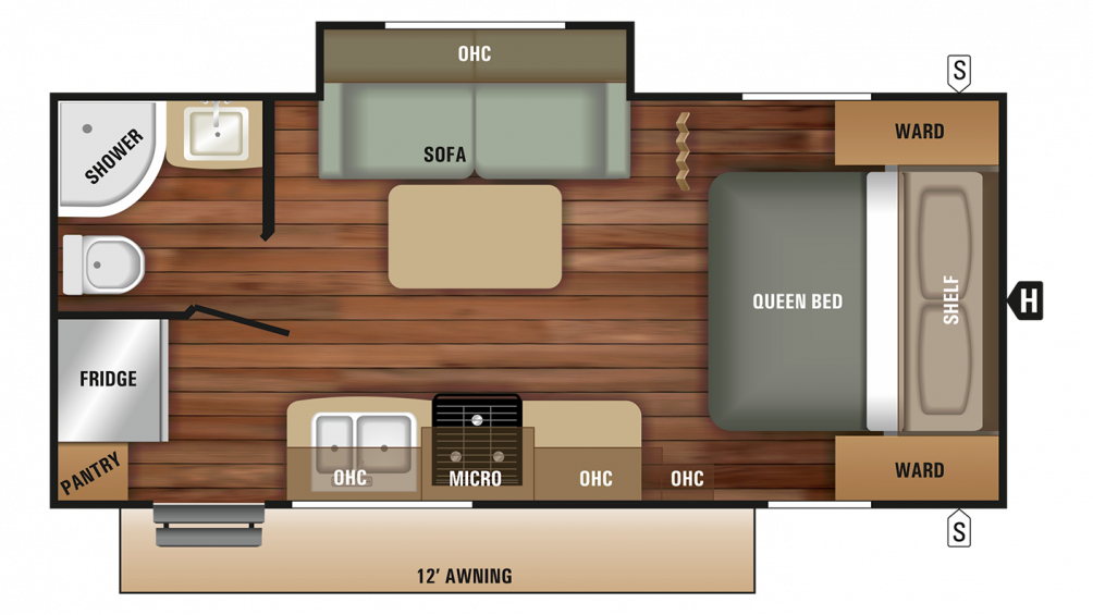 2018 Launch Outfitter 21FBS Floor Plan Img