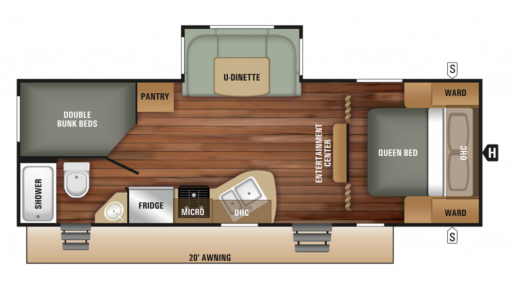 2018 Launch Outfitter 24BHS Floor Plan Img