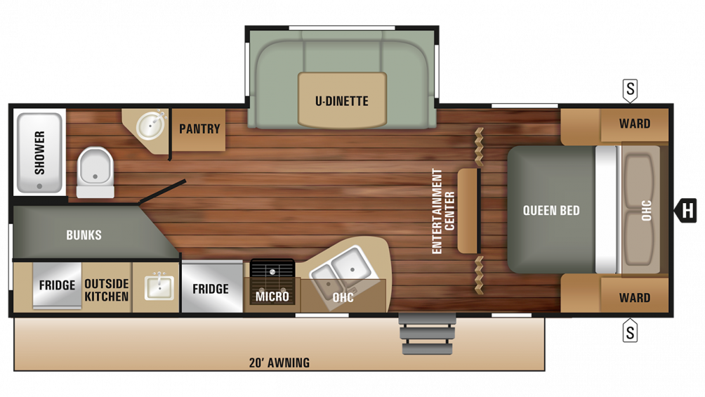 2018 Launch Outfitter 24ODK Floor Plan Img