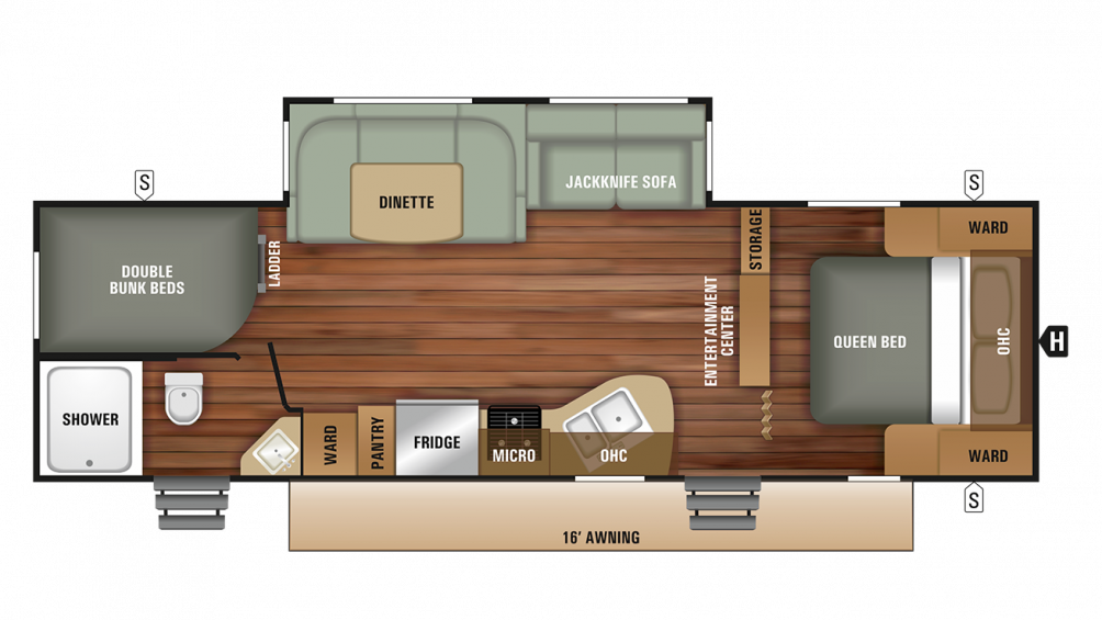2018 Launch Outfitter 27BHU Floor Plan Img