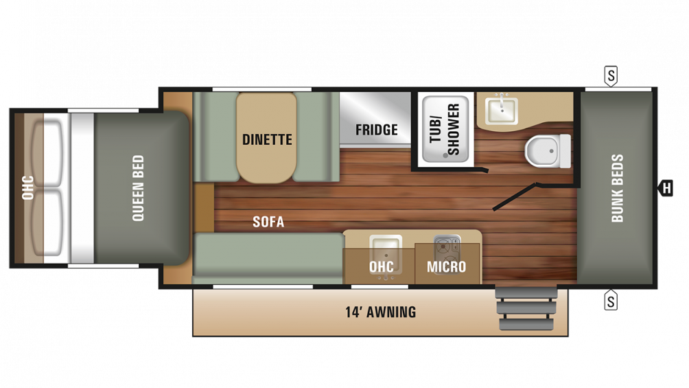 2018 Launch Outfitter 7 19BHS Floor Plan Img