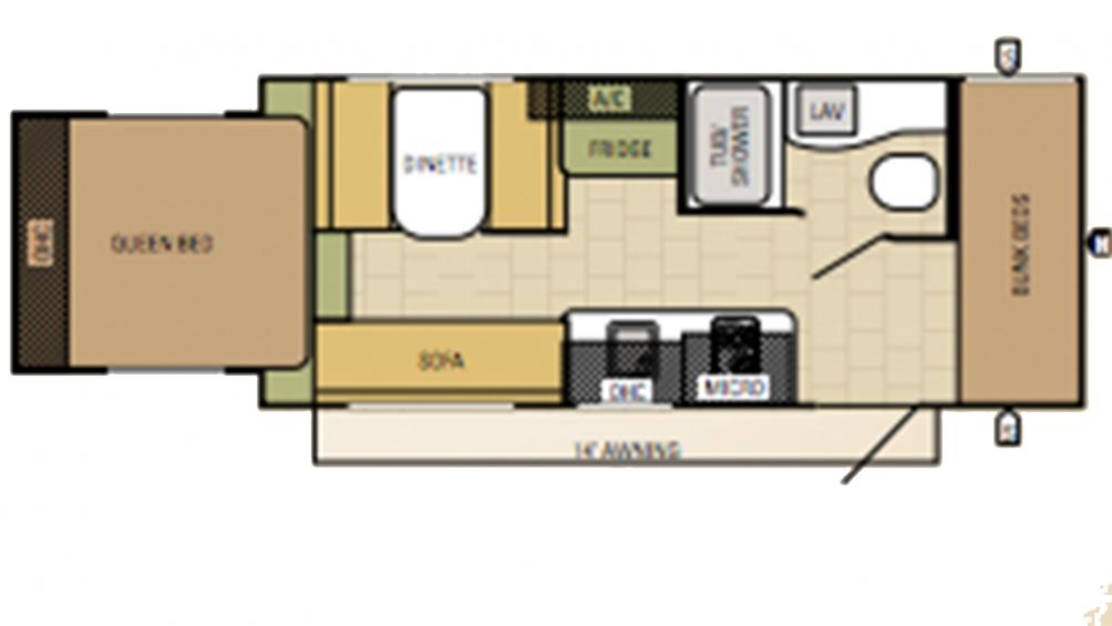 2016 Launch 19BHS Floor Plan Img