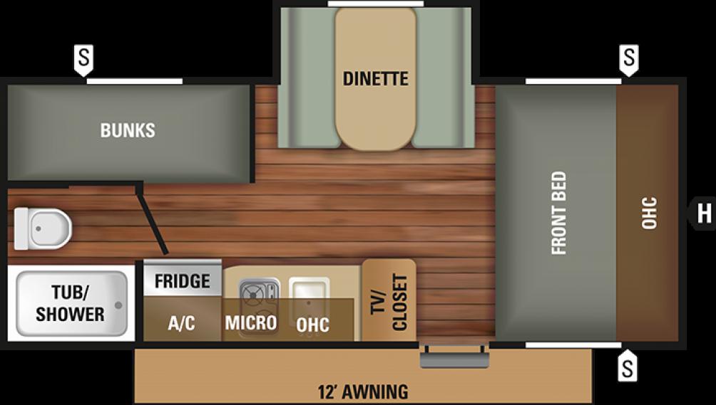2018 Mossy Oak 18BHS Floor Plan Img