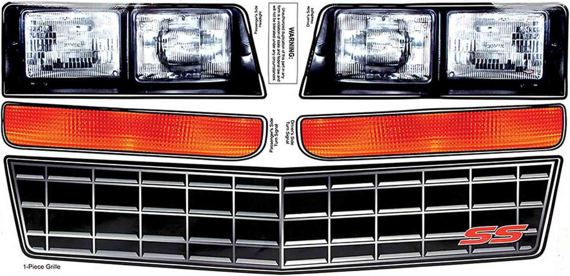 Allstar Performance M/C SS Nose Decal Kit Stock Grille 1983-88