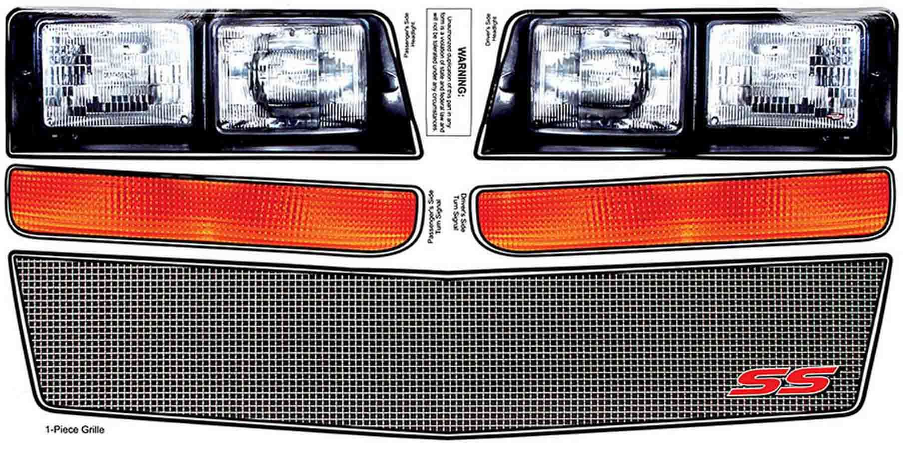 Allstar Performance M/C SS Nose Decal Kit Mesh Grille 1983-88