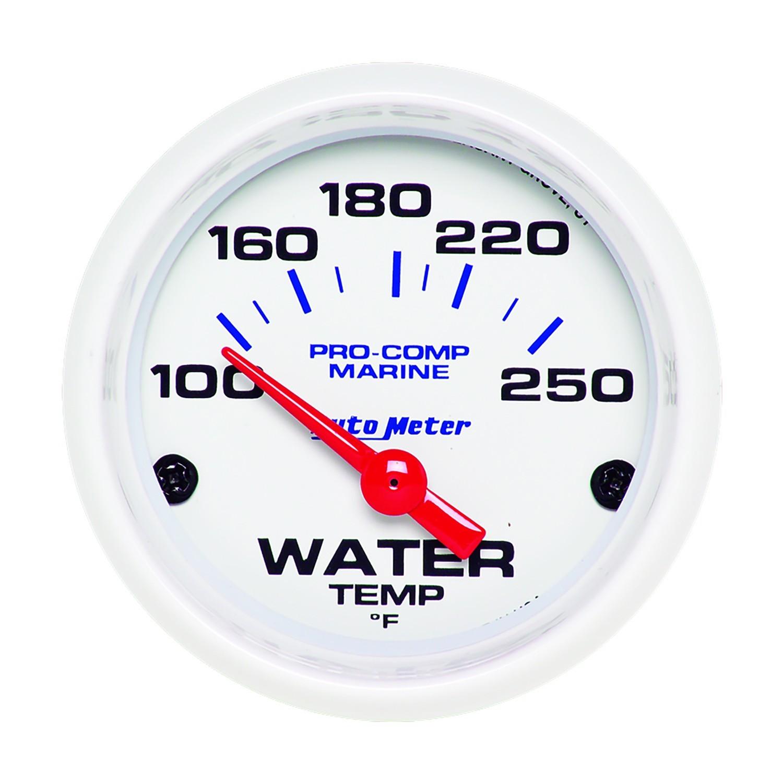 Autometer 2-1/16 Water Temp Gauge 100-250F White Phantom