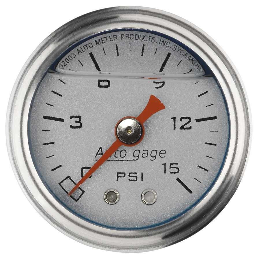 Autometer 1-1/2in Pressure Gauge - 0-15psi - Silver Face