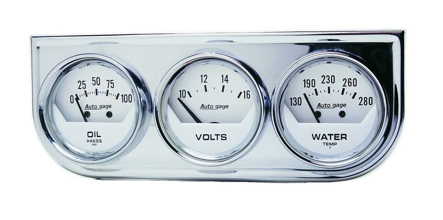 Autometer 2-1/16in Oil/Volt/Water Chrm Short Sweep Console