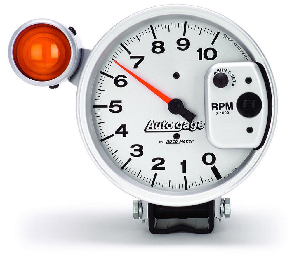 Autometer 5in Auto Gauge Tach -10K Silver Face