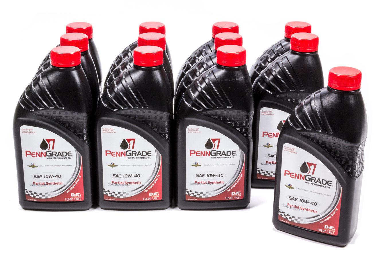 Penngrade Motor Oil 10w40 Racing Oil Cs/12Qt Partial Synthetic