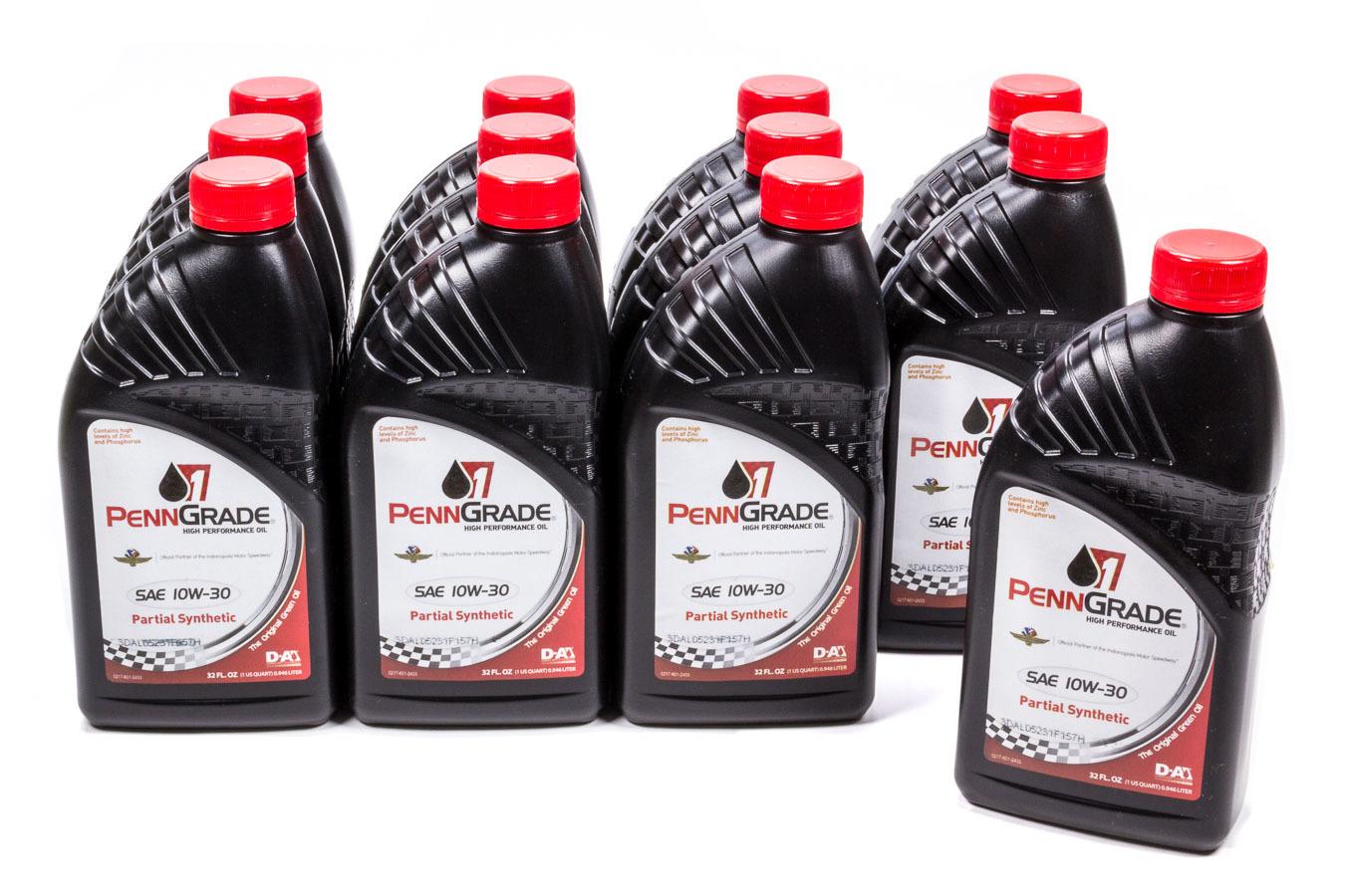 Penngrade Motor Oil 10w30 Racing Oil Cs/12Qt Partial Synthetic