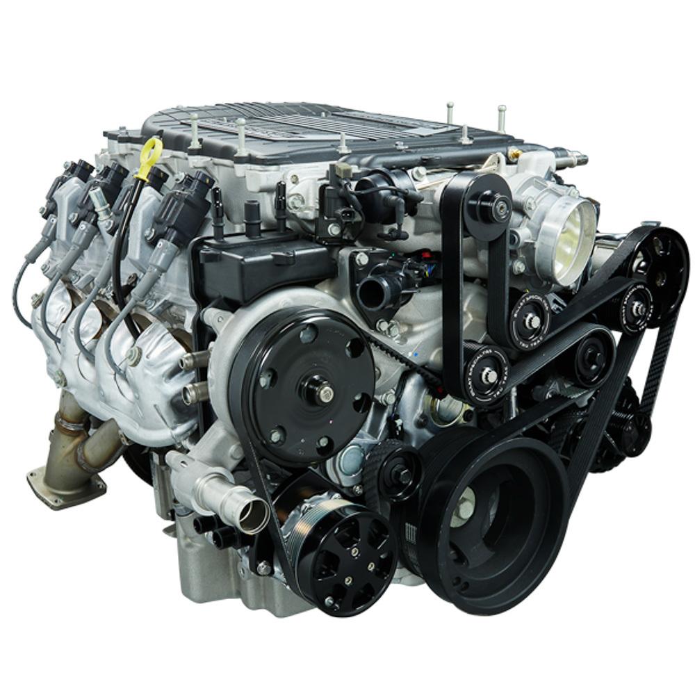 Billet Specialties Tru Trac Pulley System GM LT4 Black w P/S & A/C