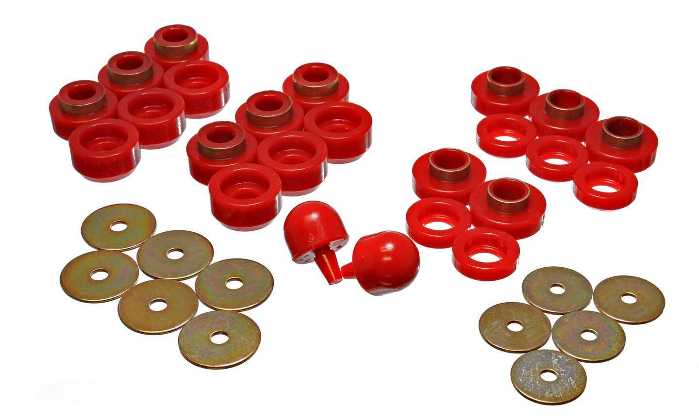 Energy Suspension Body Mount Bushings Jeep Red