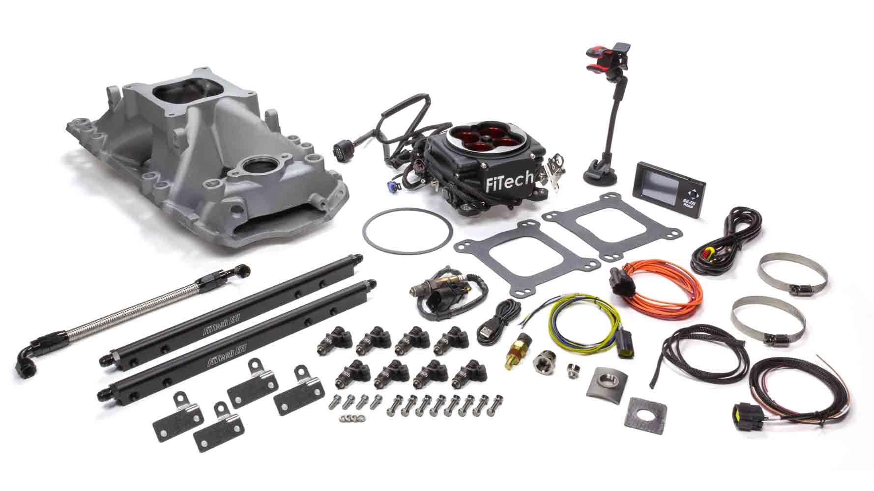 Fitech Fuel Injection Go Port SBC 200-550hp EFI System w/Black TB