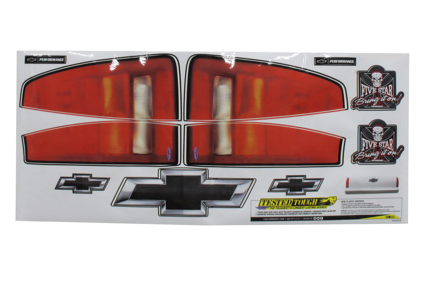 Fivestar Chevy Pkup Taillight Truck Decal Stickers