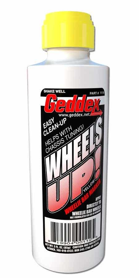 Geddex Wheels Up Wheelie Bar Marker Yellow 3oz Bottle