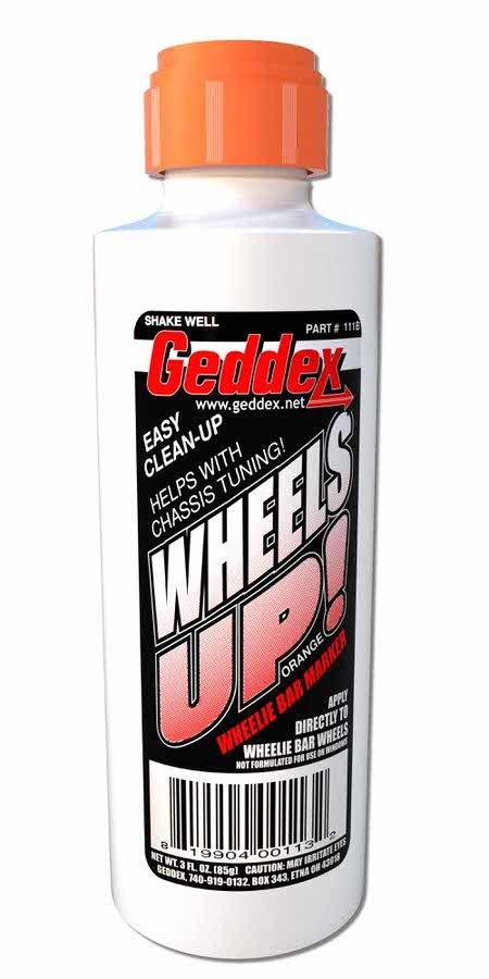 Geddex Wheels Up Wheelie Bar Marker Orange 3oz Bottle