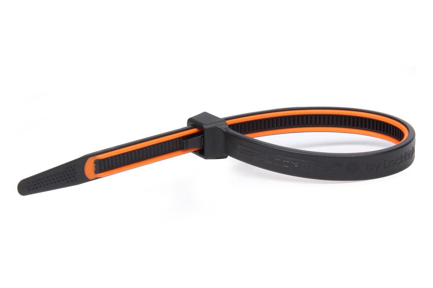 Grip Lock Ties GripLockTies 8.0in OAL Orange Rubber 100pk