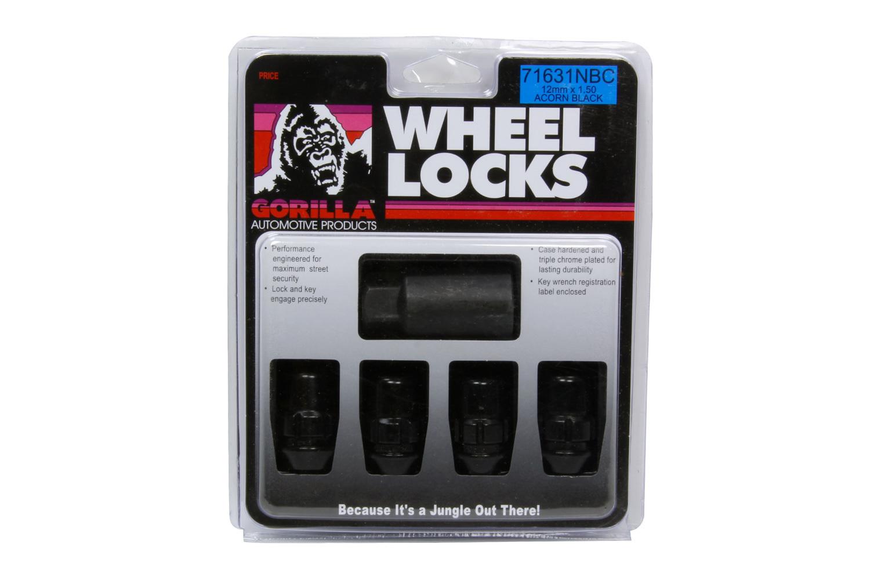 Gorilla 4 Wheel Locks 12mm x 1.5 Black Chrome